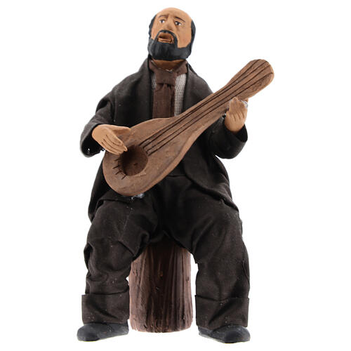 Man sitting with mandolin statue 13 cm Neapolitan nativity 1