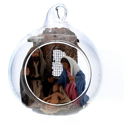 Holy Family in glass ball 6 cm Neapolitan Nativity Scene 1