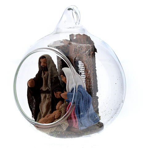 Holy Family in glass ball 6 cm Neapolitan Nativity Scene 2
