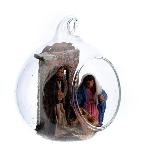 Holy Family in glass ball 6 cm Neapolitan Nativity Scene 3