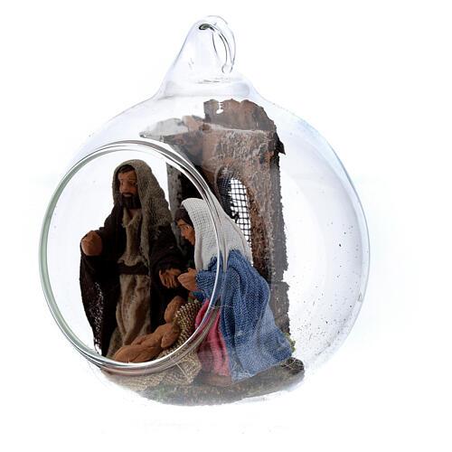 Boule en verre Nativité crèche napolitaine 6 cm 2