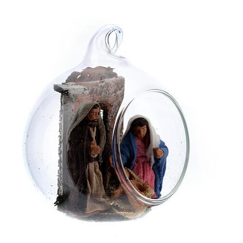 Boule en verre Nativité crèche napolitaine 6 cm 3