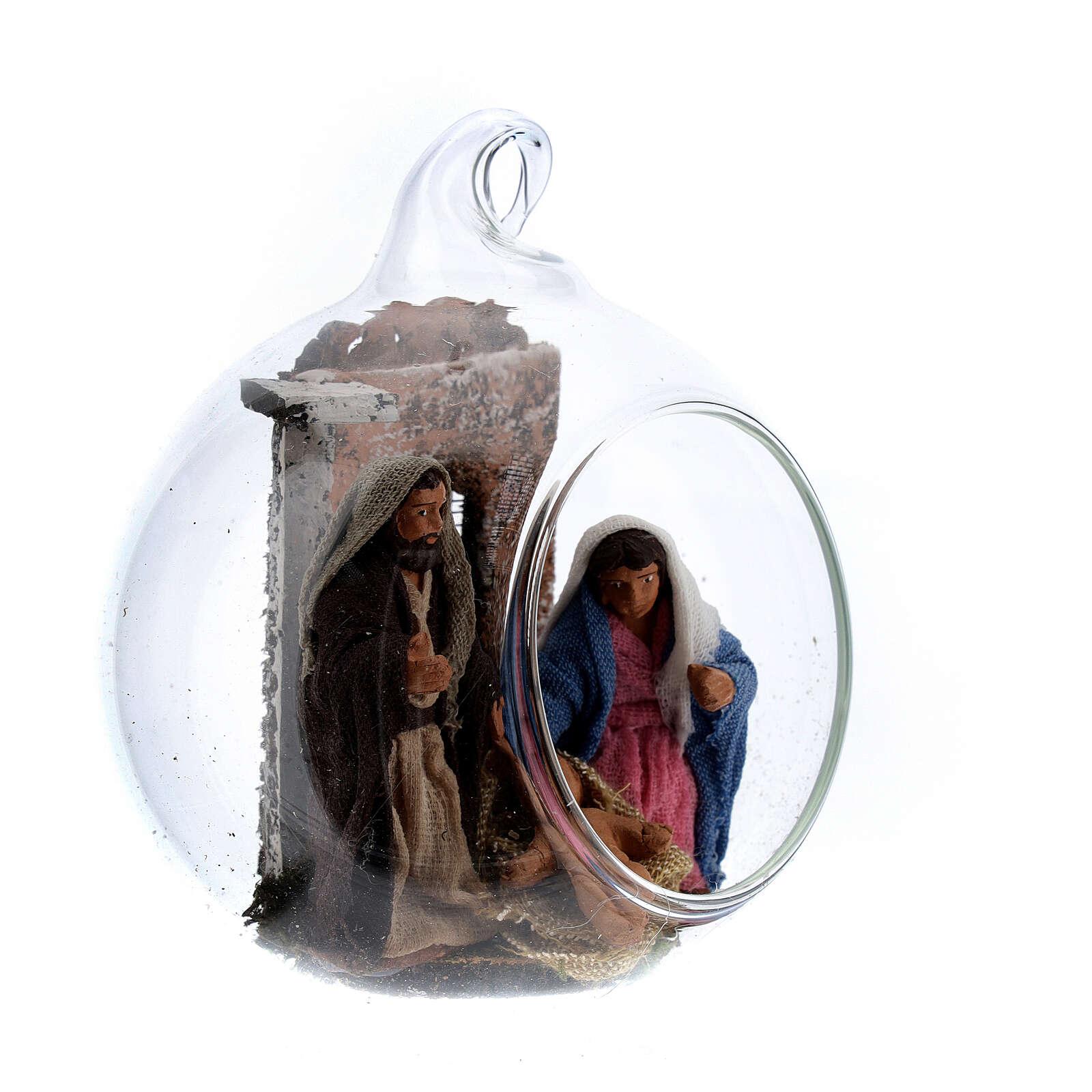 Holy Family set in glass 6 cm Neapolitan nativity 4