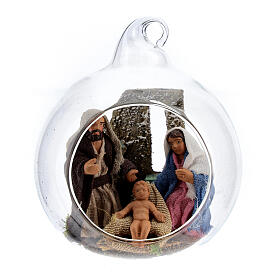 Glass ball with Holy Family figurines, 7 cm diam Neapolitan Nativity s1