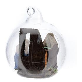 Glass ball with Holy Family figurines, 7 cm diam Neapolitan Nativity s4