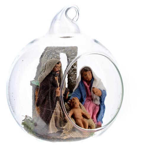 Glass ball with Holy Family figurines, 7 cm diam Neapolitan Nativity 3