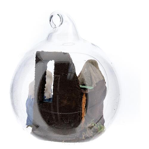 Glass ball with Holy Family set 7 cm diameter Neapolitan 4