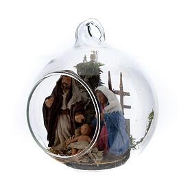 Natividade bola de Natal com figuras presépio napolitano terracota de altura média 6 cm s2