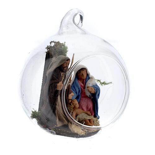 Natividade bola de Natal com figuras presépio napolitano terracota de altura média 6 cm 3