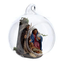 Holy Family in glass ball Neapolitan 6 cm s3