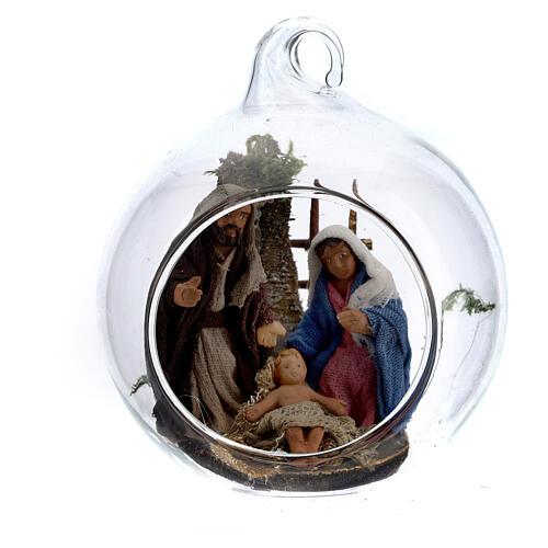 Holy Family in glass ball Neapolitan 6 cm 1