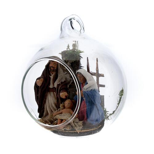 Holy Family in glass ball Neapolitan 6 cm 2