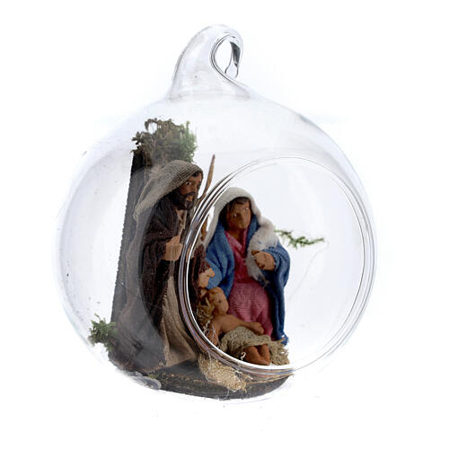 Holy Family in glass ball Neapolitan 6 cm 3
