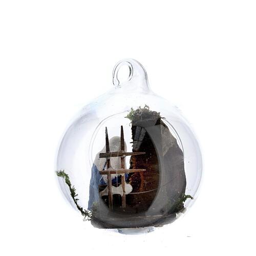 Holy Family in glass ball Neapolitan 6 cm 4