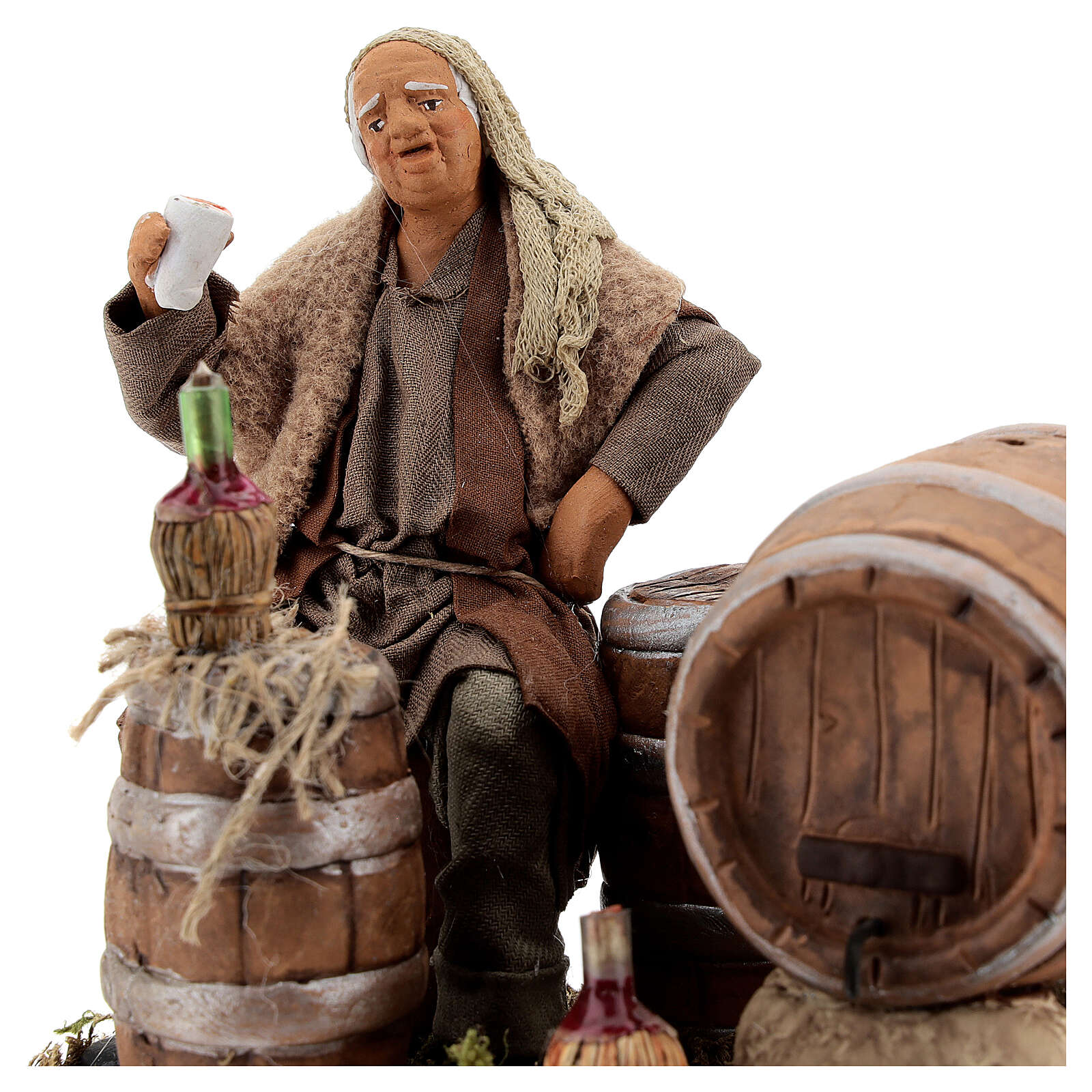 Drunken man, barrels and flasks Neapolitan Nativity scene 13 cm 4