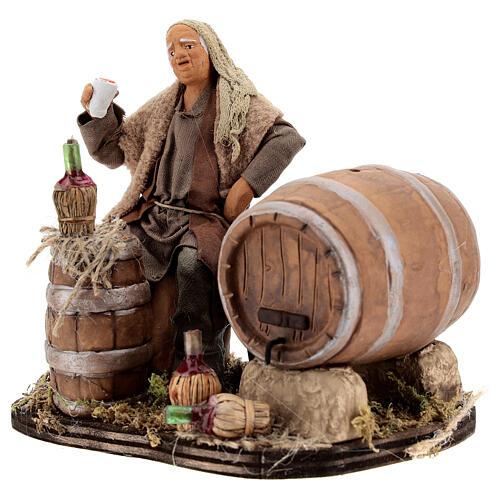 Drunken man, barrels and flasks Neapolitan Nativity scene 13 cm 3