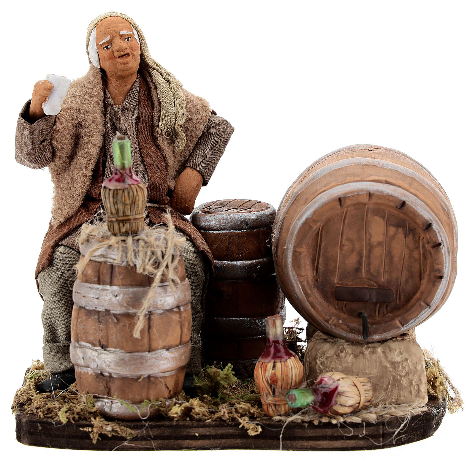 Drunkard with barrels and bottles Neapolitan nativity 13 cm 4