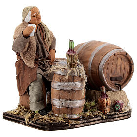 Drunkard with barrels and bottles Neapolitan nativity 13 cm s4