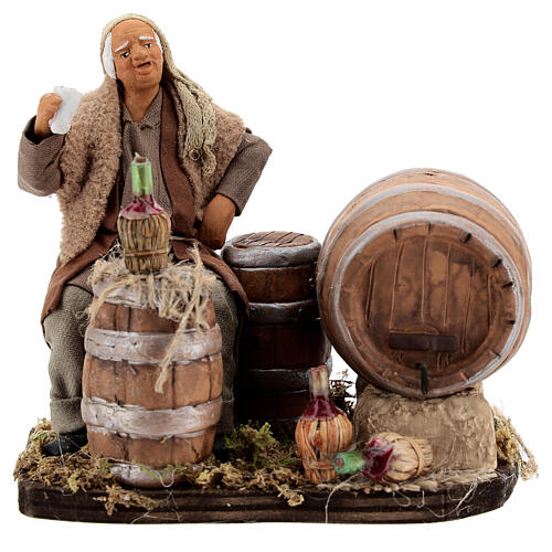 Drunkard with barrels and bottles Neapolitan nativity 13 cm 1