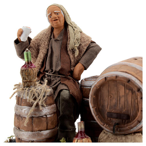 Drunkard with barrels and bottles Neapolitan nativity 13 cm 2