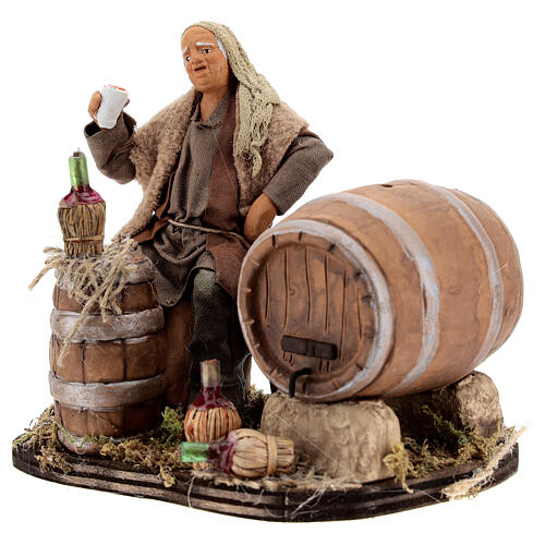 Drunkard with barrels and bottles Neapolitan nativity 13 cm 3