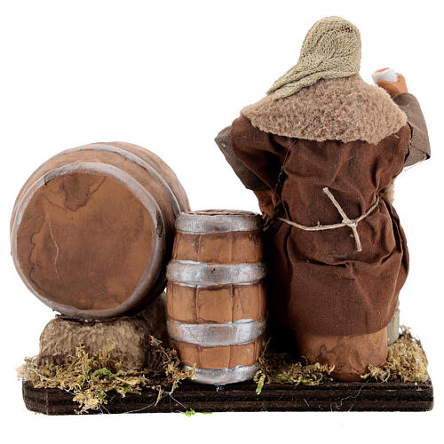 Drunkard with barrels and bottles Neapolitan nativity 13 cm 5