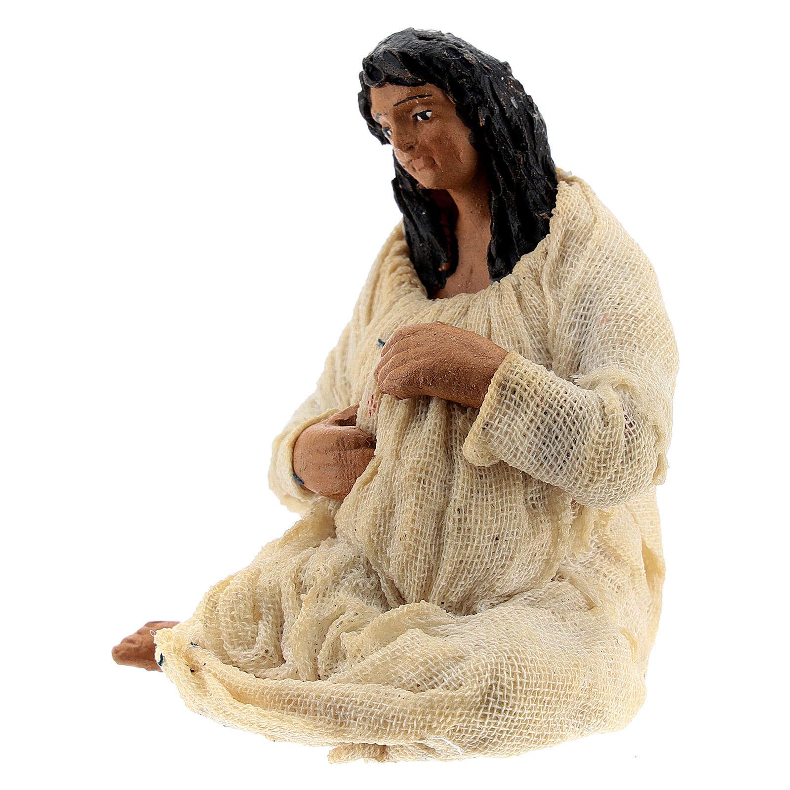 Pregnant woman figure terracotta Neapolitan nativity 10 cm 4