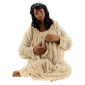 Pregnant woman figure terracotta Neapolitan nativity 10 cm s1