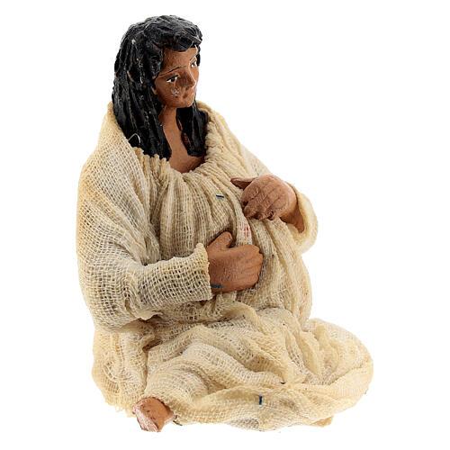 Pregnant woman figure terracotta Neapolitan nativity 10 cm 3