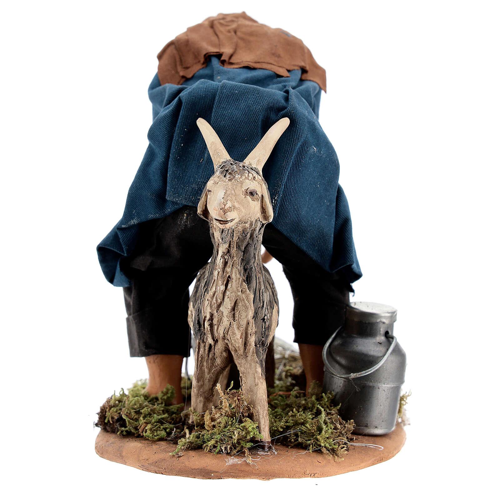 Pastor ordenhando cabra para presépio napolitano com figuras de altura média 15 cm 4