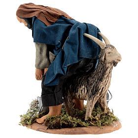 Pastor ordenhando cabra para presépio napolitano com figuras de altura média 15 cm s4
