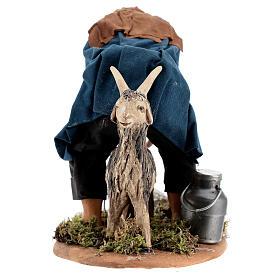 Pastor ordenhando cabra para presépio napolitano com figuras de altura média 15 cm s5
