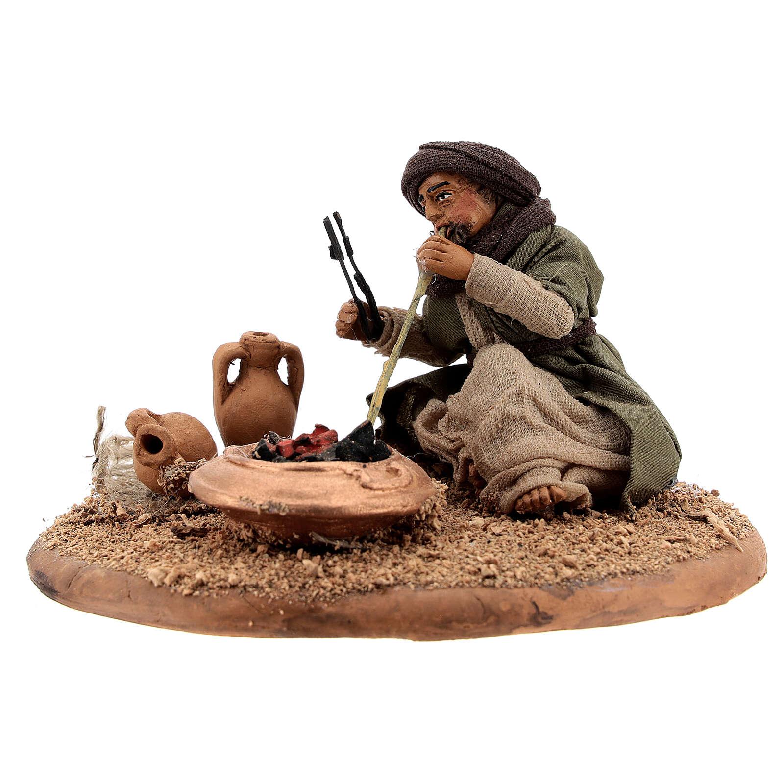 Man with fire 10 cm figurine Neapolitan Nativity Scene 4