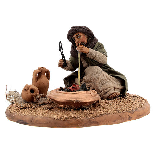 Man with fire 10 cm figurine Neapolitan Nativity Scene 3