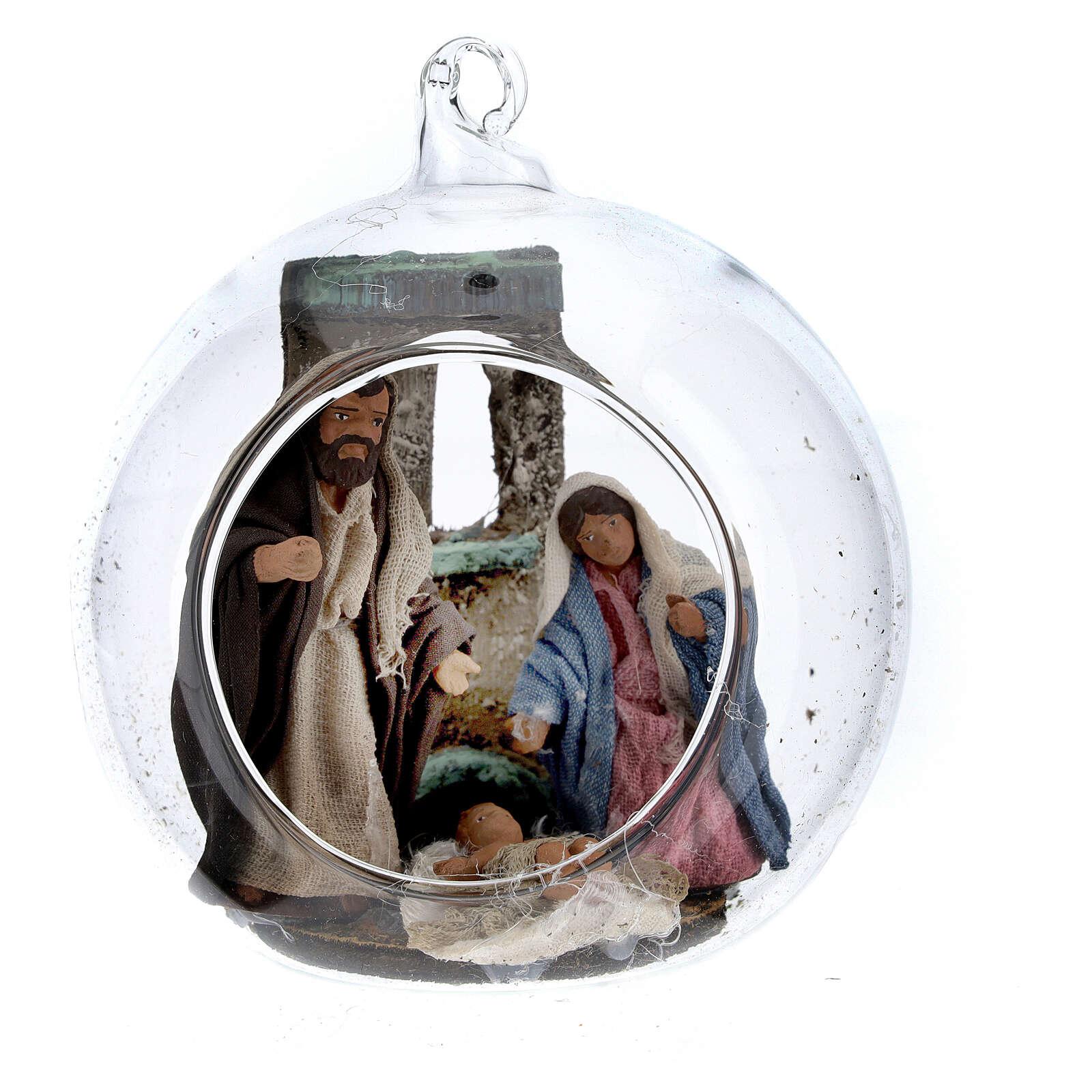 Holy Family in glass ball Neapolitan nativity scene 7 cm 4
