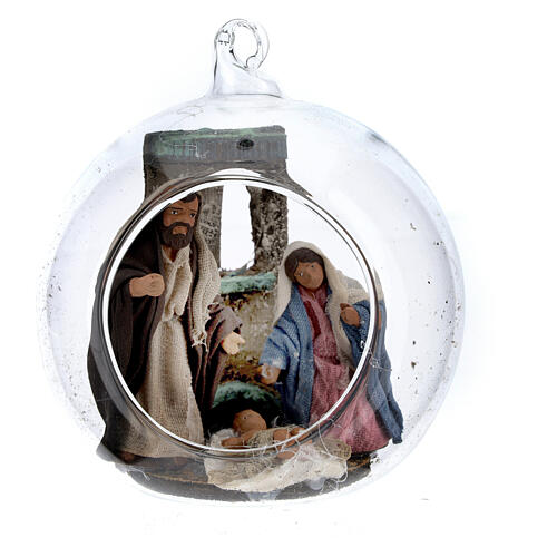Holy Family in glass ball Neapolitan nativity scene 7 cm 1