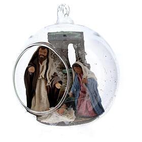 Natividade bola de Natal vidro com figuras presépio napolitano de altura média 7 cm s2