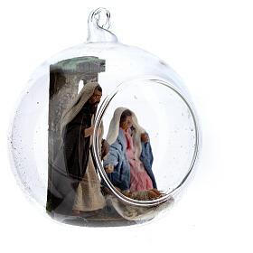 Holy Family in glass ball Neapolitan nativity 7 cm s3