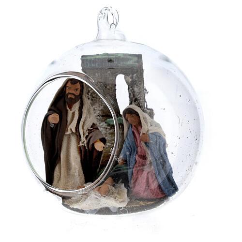 Holy Family in glass ball Neapolitan nativity 7 cm 2