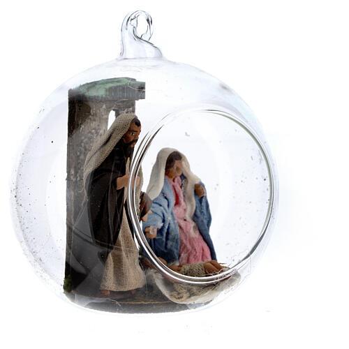 Holy Family in glass ball Neapolitan nativity 7 cm 3