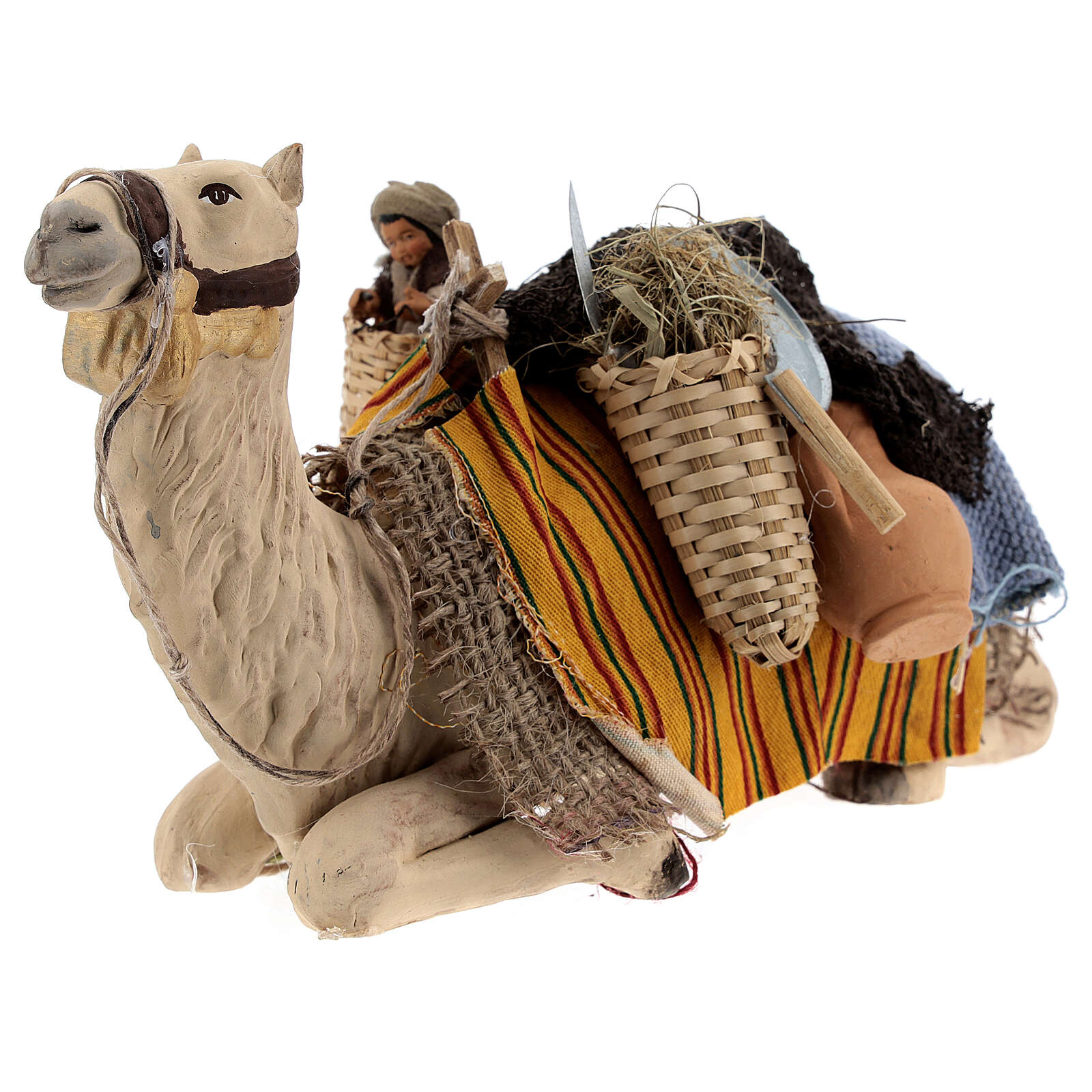 Camel with child in basket 15 cm figurine Neapolitan Nativity Scene 4