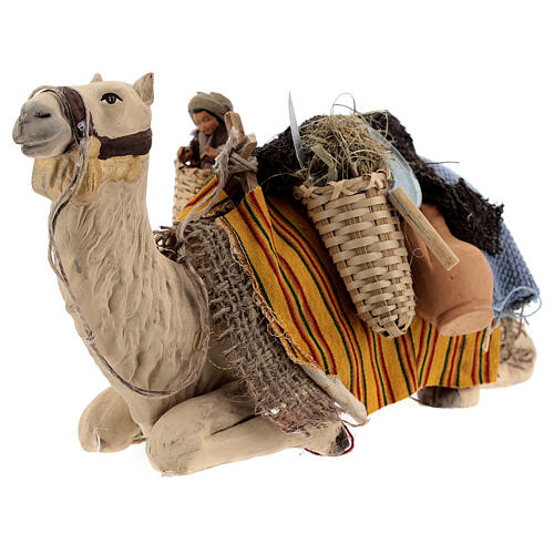 Camel with child in basket 15 cm figurine Neapolitan Nativity Scene 3