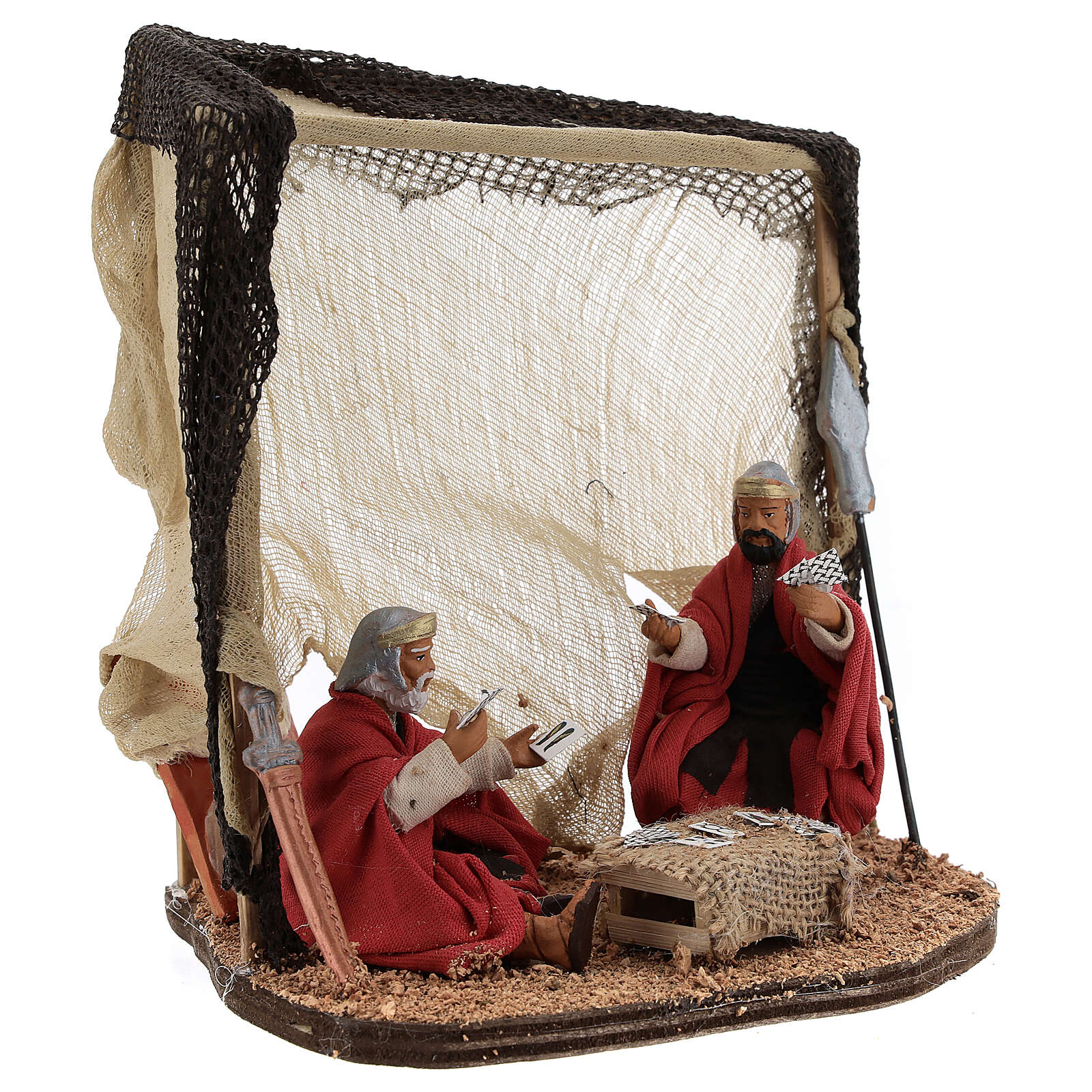 Soldiers playing cards figurines Neapolitan nativity 10 cm 4
