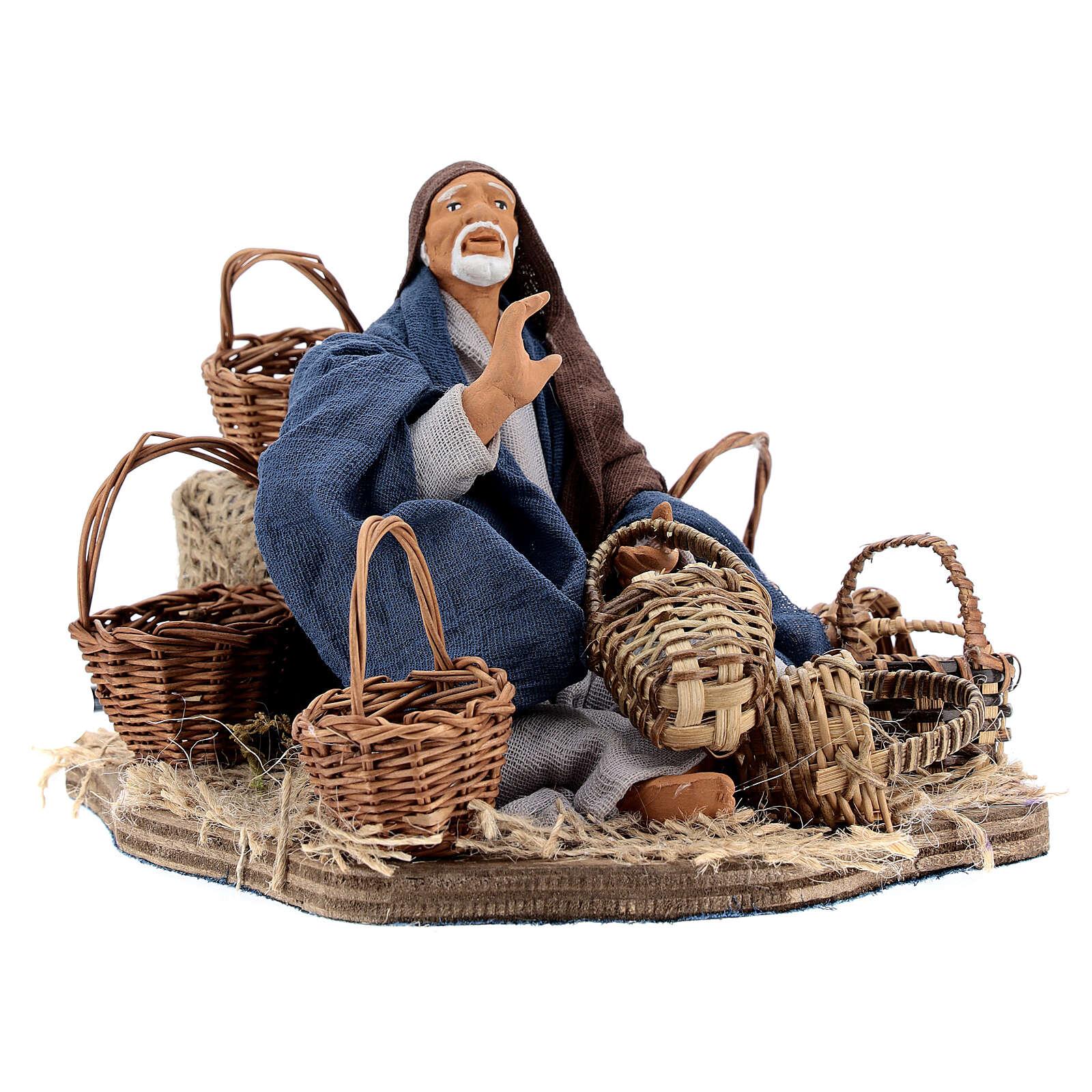 Animated basket seller Neapolitan nativity 14 cm 4