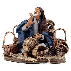 Animated basket seller Neapolitan nativity 14 cm s1