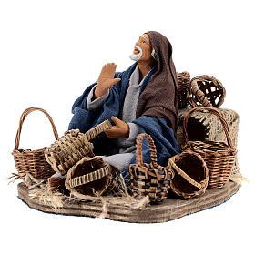 Animated basket seller Neapolitan nativity 14 cm s2
