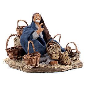 Animated basket seller Neapolitan nativity 14 cm s3