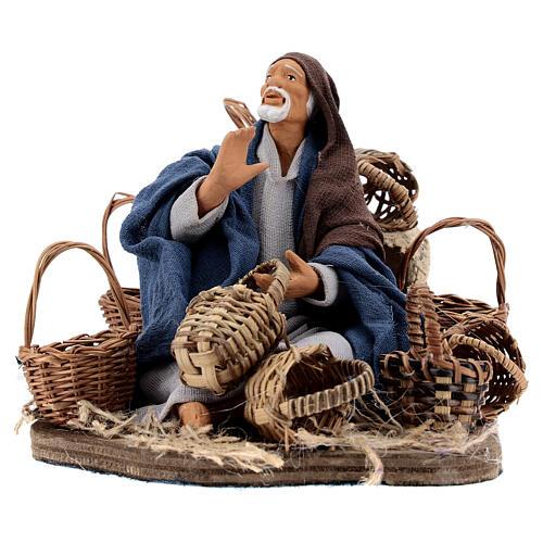 Animated basket seller Neapolitan nativity 14 cm 1