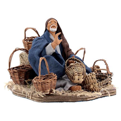 Animated basket seller Neapolitan nativity 14 cm 3