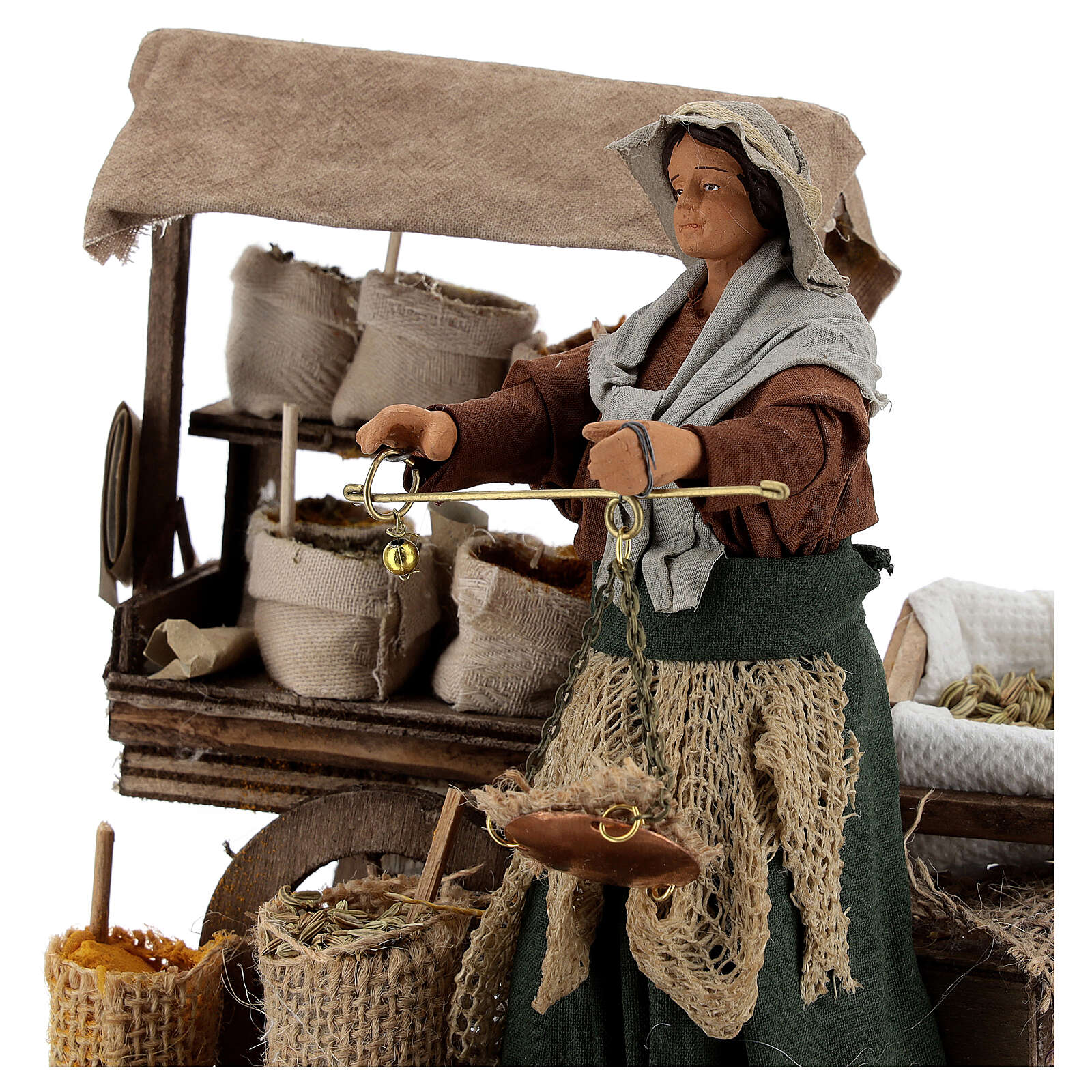 Animated plant seed seller woman 14 cm Neapolitan nativity 4